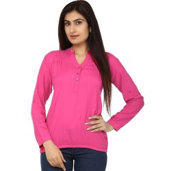 Ladies Full Sleeves Casual Solid Dark Pink Cotton Shirt