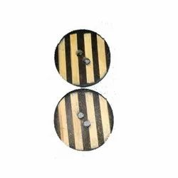 Fancy Round Yellow and Black Wooden Button