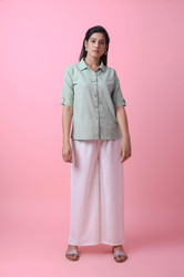 Half Sleeve Collar Cotton Short  Kurti With Palazzo Pant