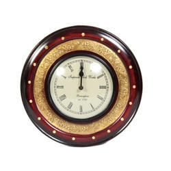Wooden Brass FTD Round Wall Clock