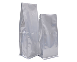 Matt Silver Flat Bottom Pouches Without Zipper