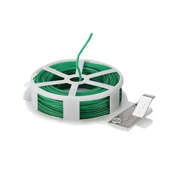 DeoDap Plastic Twist Tie Wire Spool With Cutter For Garden Yard Plant 50m (Green)