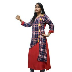 3/4th Sleeve Rayon Ladies Kurti