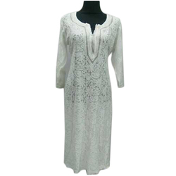 White Georgette Lucknowi Chikan Hand Embroidery Kurti, Size: XXL