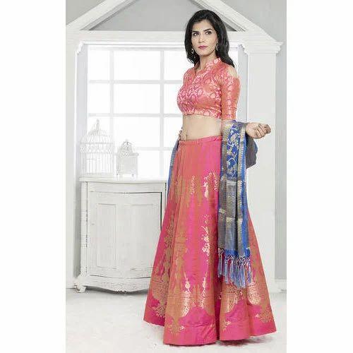 6d16cde43 Rani Pink Banarasi Silk Semi-Stitched Lehenga Choli