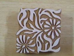 Square Shaped Floral Pattern Wooden Printing Blocks