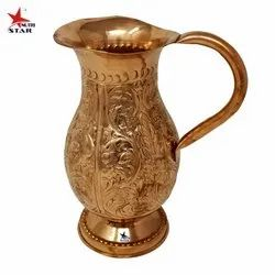 Nutristar Copper Jug Handcrafted Flower Design, For Home, Capacity: 1.5 litres and 3 litres