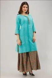 Ladies 100% Cotton Kurti with Sharara Divider Set