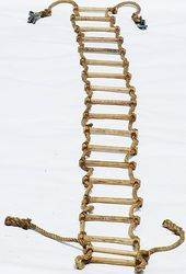 Brown Rope Ladder With Wooden Rugs
