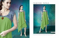 Denim and Georgette Designer Kurti, Size: XL