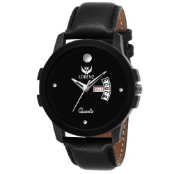 Lorenz Black Dial Leather Strap Day & Date Watch for Men- MK-205W