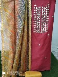 Chanderi/banarasi Gota Patti Suit