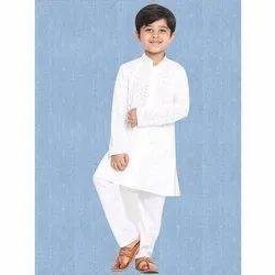 White Cotton Kids Chikan Kurta, Band Collar