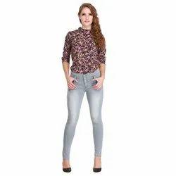 Regular Fit Ladies Knee High Grey Denim Jeans, Waist Size: 26-32