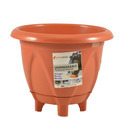 Brown Round 10 Ltr Plastic Planter For Garden