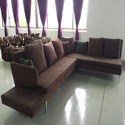 Brown L Shape Modular Sofa