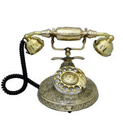 Metal Land Line Phone Black Leaf Work Gandhi Style