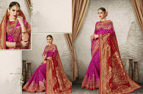 37eec08d8c Embroidered Dark Pink Colourful Prm7925 Bridal Banarasi Red Pink Silk Saree