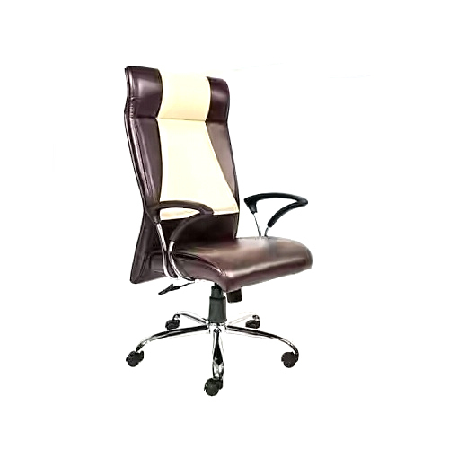 Brown Cream Fabric Revolving Office Chairs Rs 3800 Piece New Super Steel Furniture Id 16327483333