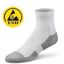 White and Gray Polyester ESD Socks