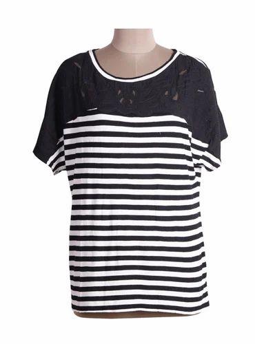 08cffc837fec08 Ladies Hosiery Round Neck Half Sleeves Striped Top