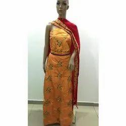 Ladies Embroidery Party Wear Orange Designer Lehenga, Packaging Type: Box