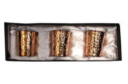 Copper Hammered Glass Pack Of 3 Gift Set