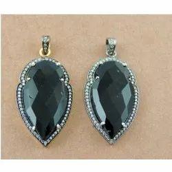 Black Onyx Pave Set Arrowhead Pendant