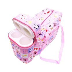 Pink Canvas Baby Bag With Insulated Bottle Cases Bag