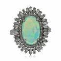 Natural Ethiopian Opal Pave Diamond Baguette Ring