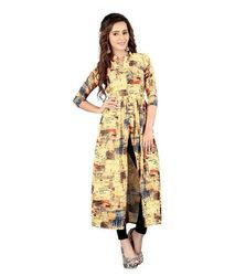 Ladies Stone Wash Cotton Chiffon Kurti
