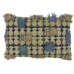 Printed Embroidered Fringe Decorative Cotton Pillow Cover