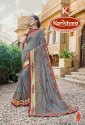 Dyed Chiffon Heavy Embroidery & Diamond Work Saree With Lace - Mandira