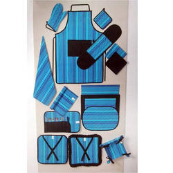 Blue, Black Cotton Kitchen Linen Set