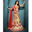 Brocade Yellow Semi-Stitched Bridal Lehenga