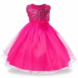 Satin and Net Girls Party Wear Flower Gown