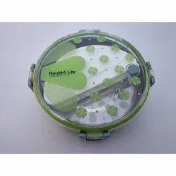 Plastic + SS Green Tedemi Lunch Box, Capacity: 920 Ml, Size: 17 Cm