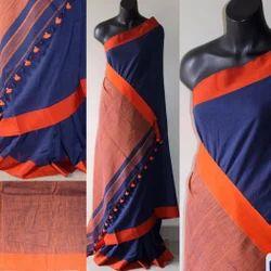 Orange,purple Plain Ethnic Handloom Saree