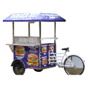 Burger Hut Blue And White Burger Cart, Model - Cycle Push Cart