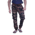 Casual Wear Green & Black Camouflage Print Track Pants