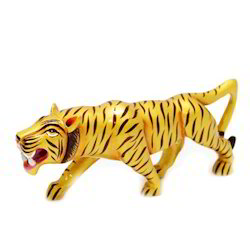 Angry Tiger Wooden Statue