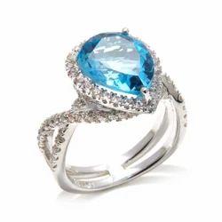 Pear Blue Topaz Silver CZ Ring