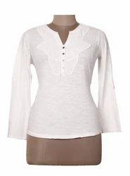 Women White Fancy Lace Top