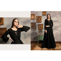 Ladies Round Neck Black Long Gown