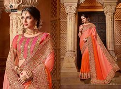 Indian Women Orange Color Georgette Saree