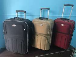 Raybagz Two Tone Rexine Trolley Suitcase (Expandable Double Shell)
