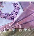 Plain Body Zari Par Linen Saree With Floral Embroidery Work Blouse Piece