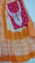Cotton Hand Block Print Gota Patti Dress Material