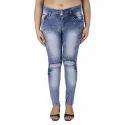 Ladies Knee Ripped Jeans