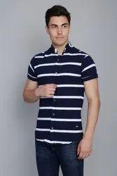 Blue White Stripe Pique Shirt